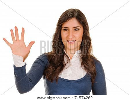 smiling woman showing five fingers