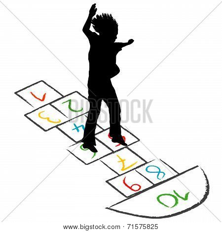 Child Silhouette Jumping Over Hopscotch
