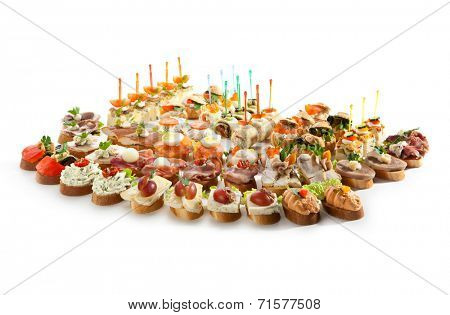 Canapes Isolated on White Background