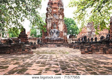 Buddha Statue In Ancient History Temple In Ayuthaya World Heritage Sites Of Unesco Central Of Thaila