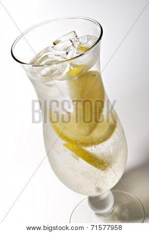 French Lemonade - Alcoholic Cocktail with Soda and Lemon