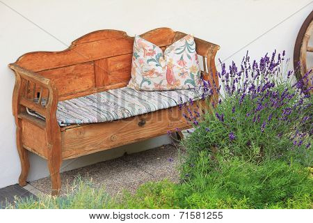 Hand Crafted Wooden Settee, Vintage Style, Bavarian Furniture