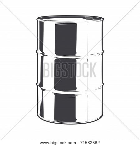 Steel Oil Barrel Isolated On A White Background. Line Art. Retro Design. Vector Illustration.