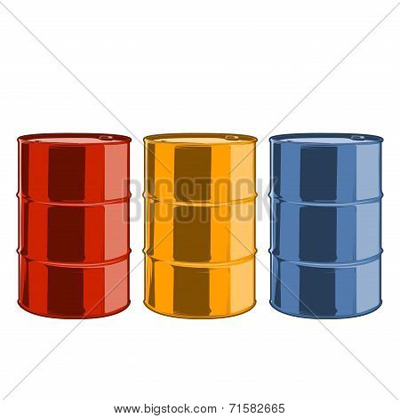 Red, Yellow And Blue Steel Oil Barrels Isolated On A White Background. Color Line Art. Retro Design.