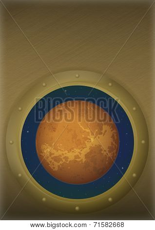 Planet Venus in space window