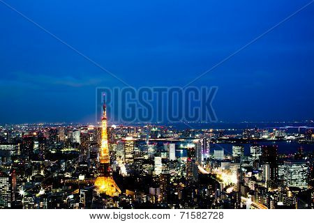 Skyline Of Tokyo, Tokyo Tower At Night, Japan.