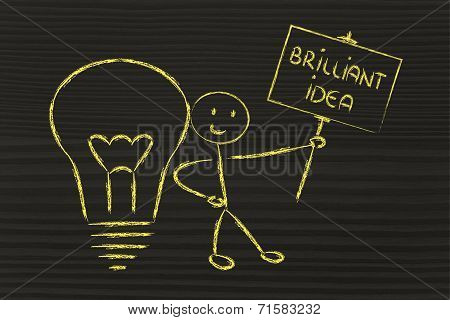Man With Ideas And Knowledge Promoting A Brilliant Idea