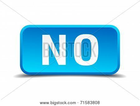 No Blue 3D Realistic Square Isolated Button
