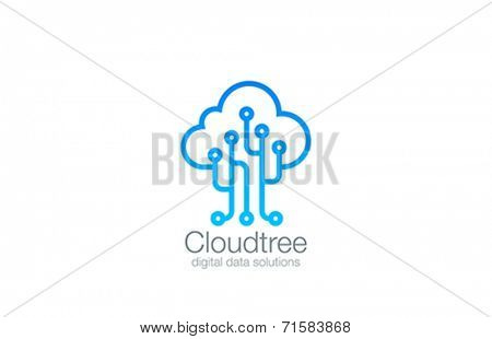 Tree Cloud Logo vector design template. Digital Business technology logotype. Electronics Chip modern style. Creative idea data storage icon.
