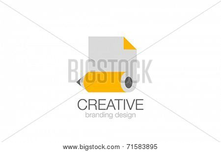 Pencil Logo design vector template. Creative Studio logotype. Pencil & Document icon Business Education concept.