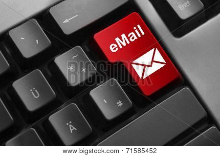 Keyboard Red Button Email Secure