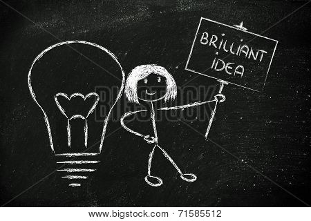 Girl With Ideas And Knowledge Promoting A Brilliant Idea