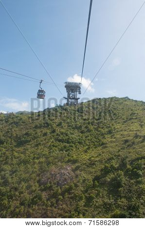 Hongkong-July 4,2014:cable car along the mountain in Hongkong