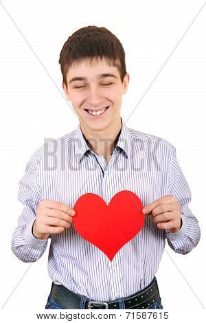 Teenager Holds Red Heart Shape