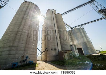 Silver, Shiny Agricultural Silos