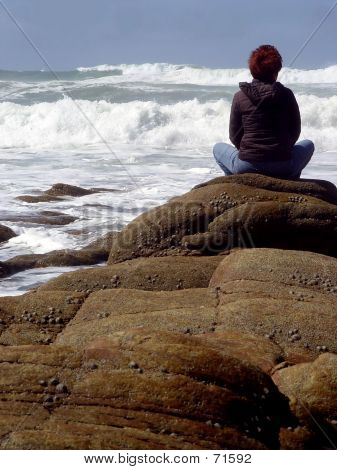 Zen Woman By The Sea