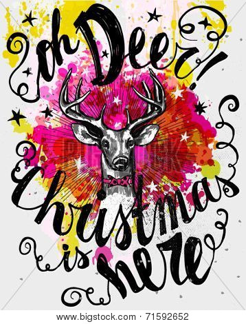 Christmas Poster - Whimsical mixed media Christmas card, with hipster reindeer and old fashioned hand lettering, ink on watercolor backdrop