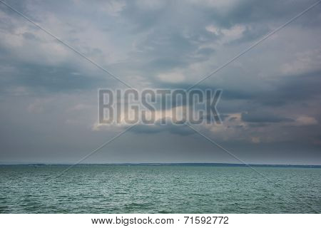 Stormy clouds over Balaton Lake, Hungary, Europe