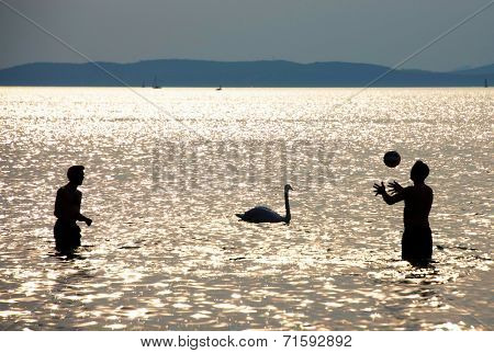 Balaton Lake relaxation, Hungary, Europe