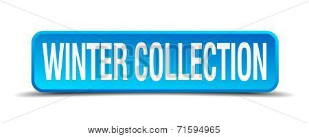 Winter Collection Blue 3D Realistic Square Isolated Button