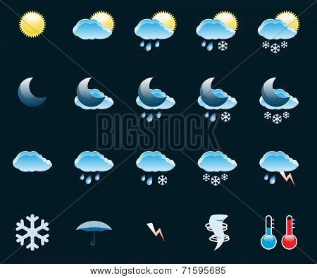 Illustration Set of Icons on a theme Weather.