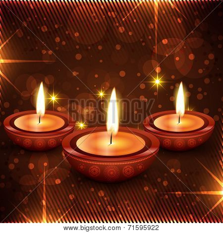 Vector stylish diwali diya background