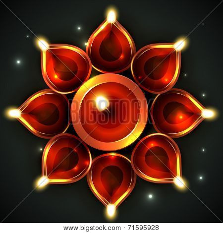 Vector background of decorative diya