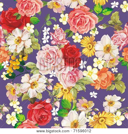Seamless vintage romantic pattern. Beautiful flower vector illustration texture