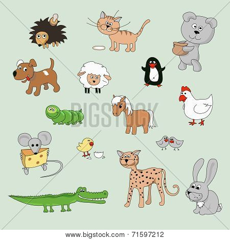 set of various cartoon animals and birds