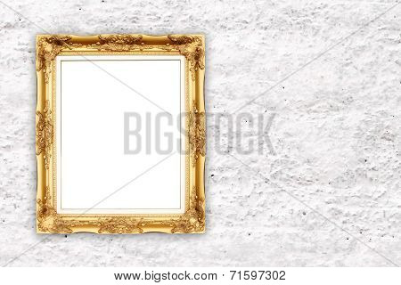 Blank Golden Frame On Whtie Cement Wall