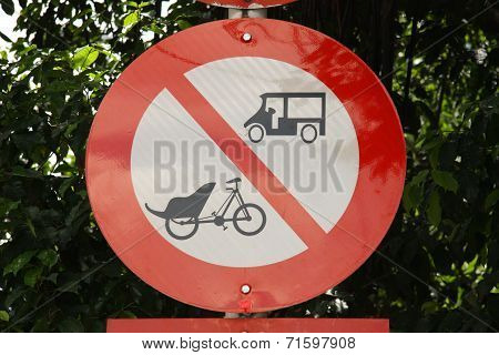 Road sign no tuk tuk and trishaw