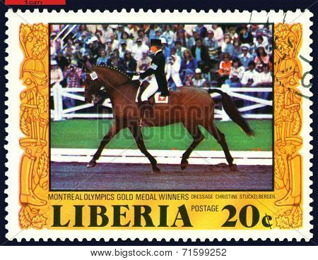 Vintage  Postage Stamp.  Riding.  Individual Dressage.