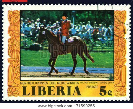 Vintage  Postage Stamp.  Riding.  Military Dressage.