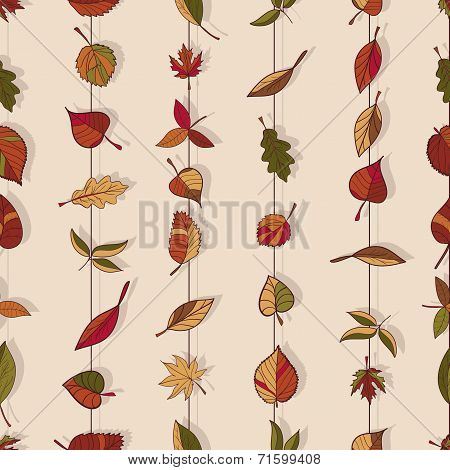 Autumn Pattern. Pattern Of Autumn Leaves. Red, Yellow And Green Leaves Of Forest Trees. Seamless Tex