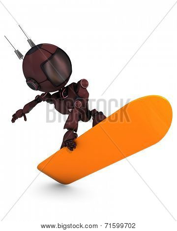 3D Render of an Android Snowboarder