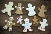 picture of ginger bread  - Happy Ginger Bread Cookies with Decoration and without in brown and white colors Man Woman and Children - JPG