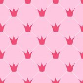 stock photo of queen crown  - Princess Crown Seamless Pattern Background Vector Illustration - JPG