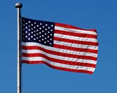 American Flag Flying In Breeze