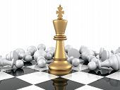 image of three kings  - Gold Chess King winning on White Pawns - JPG