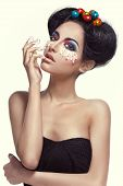 pic of human egg  - Fashion beauty portrait of young girl model with Creative beauty easter eggs makeup - JPG