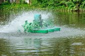 picture of aeration  - Surface Aerator is water mill to make treatment water - JPG
