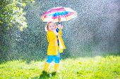 picture of fall day  - Funny cute curly toddler girl wearing yellow waterproof coat and boots holding colorful umbrella playing in the garden by rain and sun weather on a warm autumn or sumemr day - JPG