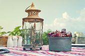 stock photo of nomads  - Ramadan Lamp and dates fruit still life - JPG