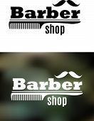 picture of barber  - Retro barber shop emblem with comb and mustaches on dark background - JPG
