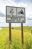 stock photo of nebraska  - Seat belts and helmets required by Nebraska State Law USA - JPG