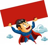 stock photo of superman  - Superhero lifts Sign - JPG