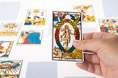 stock photo of seer  - Draw Clairvoyance tarot cards on white background - JPG
