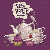 stock photo of tea party  - Tea party invitation card with a Cups - JPG