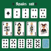 stock photo of joker  - Playing cards spades suit set joker and back isolated vector illustration - JPG