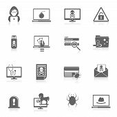 picture of computer hacker  - Hacker and computer security protection technology black icons set isolated vector illustration - JPG